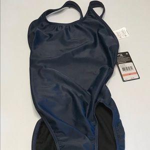NWT Speedo Swimming iSwim Navy Swim Suit Size 28